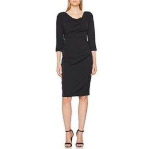 Adrianna Papell Drape Neck Dress Black Knee Length